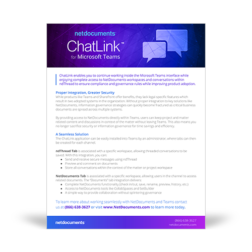 Product brochure graphic covering the NetDocuments Chatlink technology add-on for Microsoft Teams under the Plan Solution
