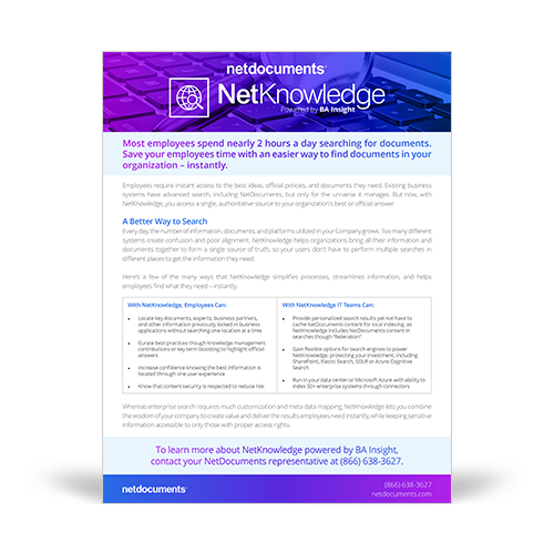 Graphic for the NetKnowledge brochure which covers NetDocuments' NetKnowledge which is powered by BA Insight.
