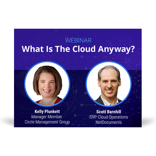 Graphic of webinar event with speakers Kelly Plunkett of Circle Management Group and Scott Barnhill of NetDocuments