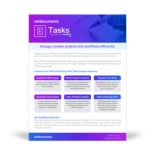 Graphic for product brochure of Tasks included in NetDocuments' Plan Solution.