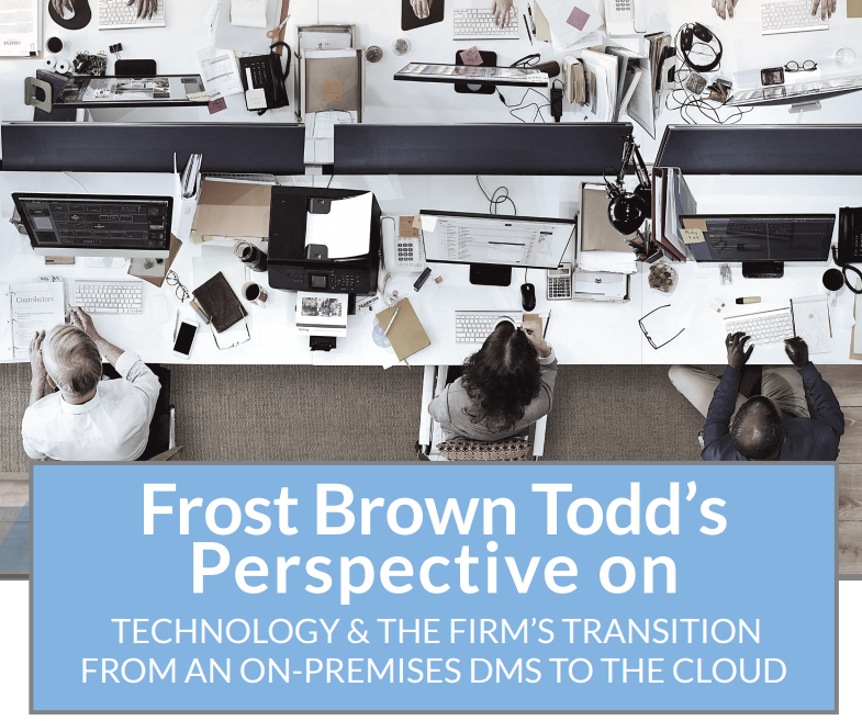 Graphic for the webinar where Frost brown Todd shares his views on law firms moving to the cloud.