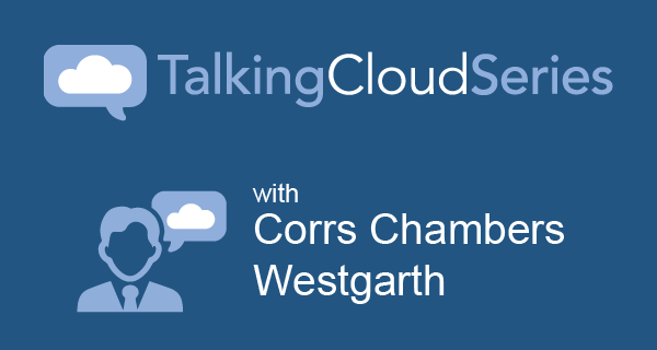 Graphic with two cloud icons and a person icon with the title of the interview overlayed.