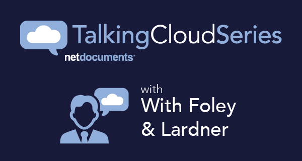 Graphic with two clouds and a person icons with the interview title overlayed.