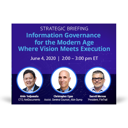 Graphic for webinar event hosted by Alvin Tedjamulia from NetDocuments, Christopher Egan from Akin Gump, and Darrell Mervau from FileTrail
