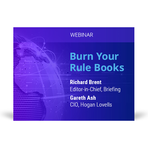 Graphic for webinar event hosted by Richard Brent of Briefing and Gareth Ash of Hogan Lovells discussing rule books.