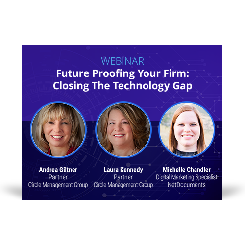 Graphic for webinar event hosted by Michelle Chandler of NetDocuments and Andrea Giltner and Laura Kennedy of Circle Management Group discuss closing the law firm tech gap.