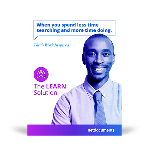 Graphic for NetDocuments' Learn Solution with a man smiling on the cover