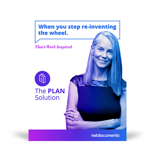 Product brochure graphic with a woman smiling and arms crossed with the pdf brochure covering NetDocuments Plan Solution