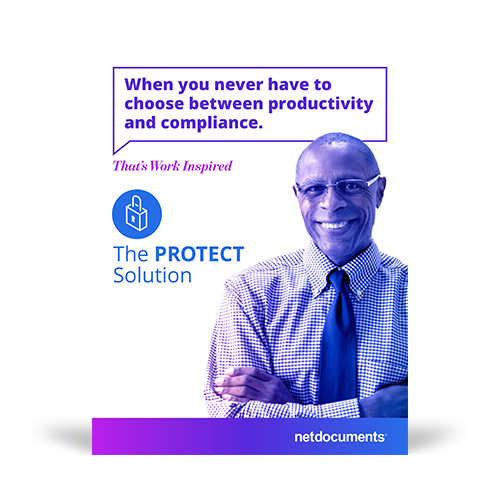Product brochure graphic with a man smiling with arms crossed with the pdf brochure topic covering NetDocuments Protect Solution.