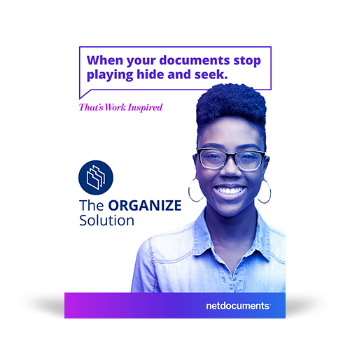 Product brochure graphic with a woman smiling and the pdf brochure topic covering the NetDocuments' Organize Solution.