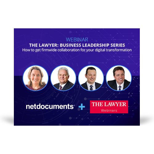 Graphic for webinar event discussing law firm collaboration in a digital transformation.