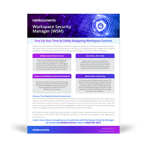 Graphic for product brochure for NetDocuments' Workspace Security Manager; A shield with a lock in the center above a computer motherboard