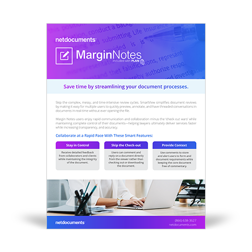 Graphic for product brochure for Margin Notes, included in NetDocuments' Plan Solution.