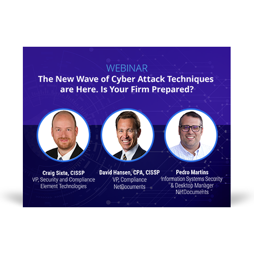 Graphic for webinar event with speakers Craig Sixta of Element Technologies, David Hansen and Pedro Martins of NetDocuments