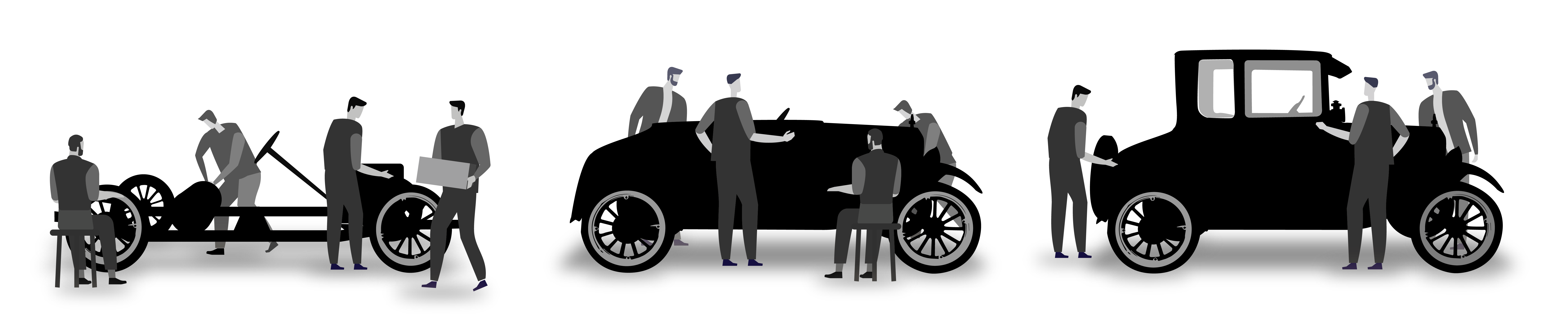 Graphic illustration of Ford Model-T production line
