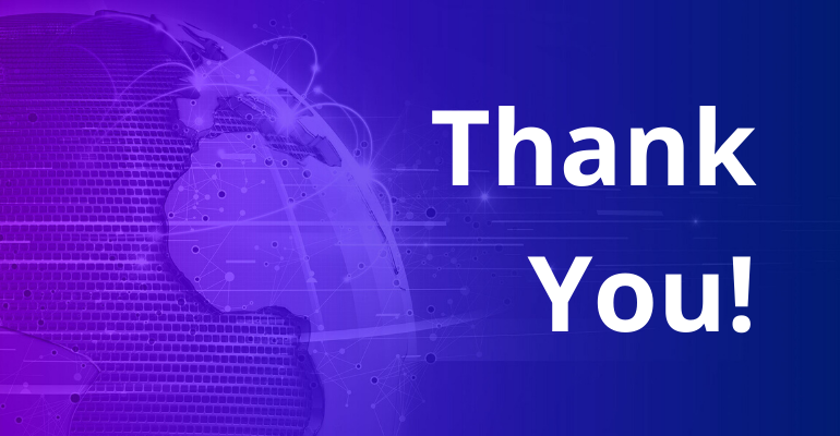 Graphic with purple translucent overlay with text that reads Thank You
