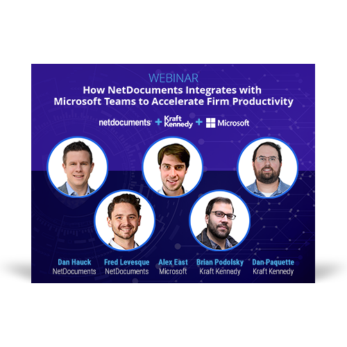 Graphic for webinar event with NetDocuments, Kraft Kennedy, and Microsoft discussing law firm productivity.
