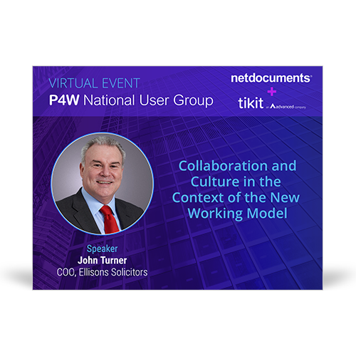 Graphic for webinar event hosted by John Turner of Ellisons Solicitors discussing collaboration in the new working model.
