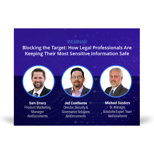 Graphic for webinar event hosted by NetDocuments
