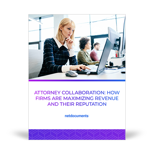 Graphic for guide discussing collaboration and maximizing revenue, a woman sits at a computer