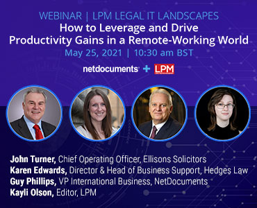 Graphic for webinar event with NetDocuments and LPM