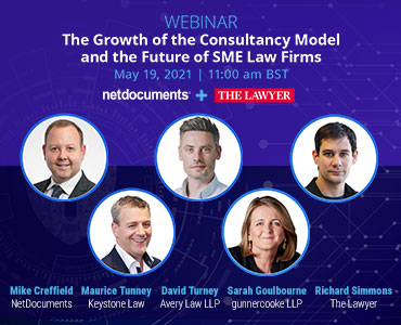 Graphic for the webinar event about growth in a consultancy model for law firms.