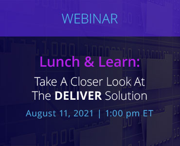 Graphic for webinar event discussing the Deliver Solution from NetDocuments.