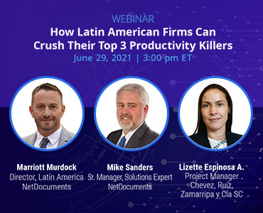 Graphic for webinar event hosted by NetDocuments discussing productivity killers in American firms.