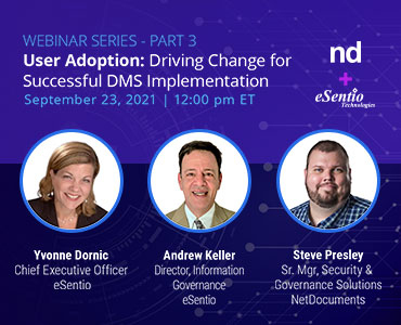 Graphic for webinar event hosted by NetDocuments on September 23rd at 12pm Eastern Time.