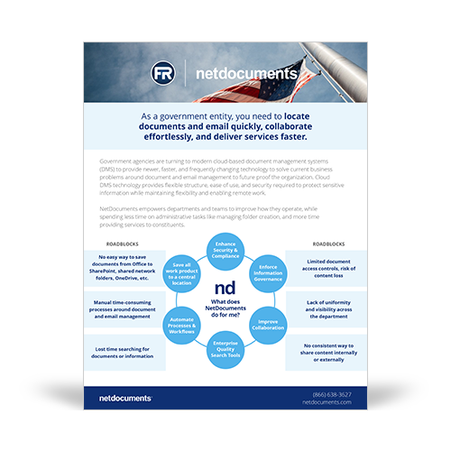 Graphic with America flag and flag poll with blue skies in the background; graphic for two pager about common pain points with FedRAMP.
