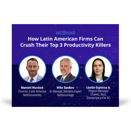 Graphic for webinar event hosted by NetDocuments covering productivity killers in the Latin American region.