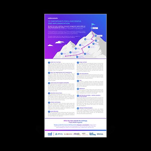 Gráfico para guia com topos de montanhas ilustrados com nove etapas de implementação para alterar os sistemas de gerenciamento de documentos.