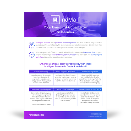 Product brochure graphic covering NetDocuments' ndMail.
