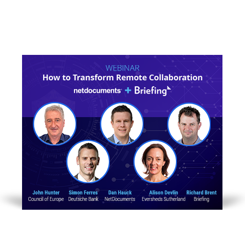 Graphic for webinar event hosted by NetDocuments discussing remote collaboration.