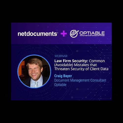 Gráfico para evento de webinar hospedado por NetDocuments cobrindo segurança em escritórios de advocacia.