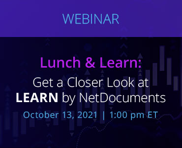 Graphic for webinar event hosted by NetDocuments covering the Learn Solution by NetDocuments