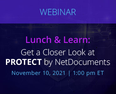 Graphic for webinar event hosted by NetDocuments discussing the Protect Solution by NetDocuments.