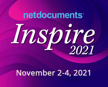 Graphic for NetDocuments Inspire 2021 event.