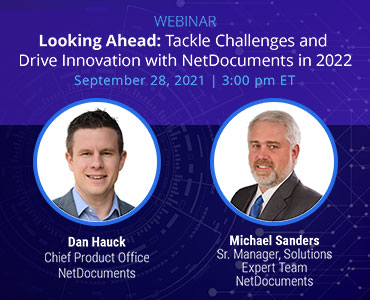 Graphic for webinar event hosted by NetDocuments discussing how NetDocuments helps drive innovation and tackle challenges