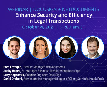 Graphic for webinar event hosted by NetDocuments and DocuSign discussing security in legal transactions.