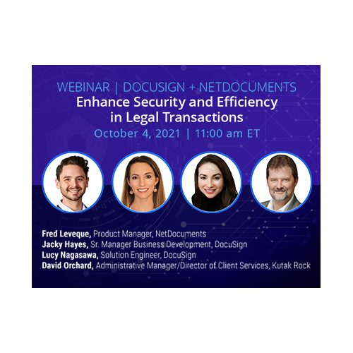 Graphic for webinar event hosted by NetDocuments discussing the DocuSign intergration.