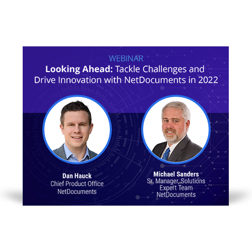 Graphic for webinar event hosted by NetDocuments discussing what's next for NetDocuments in 2022.