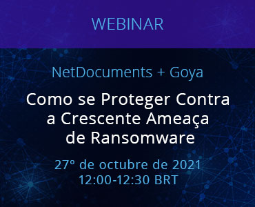 Graphic for webinar event hosted by NetDocuments for our Portuguese audience.