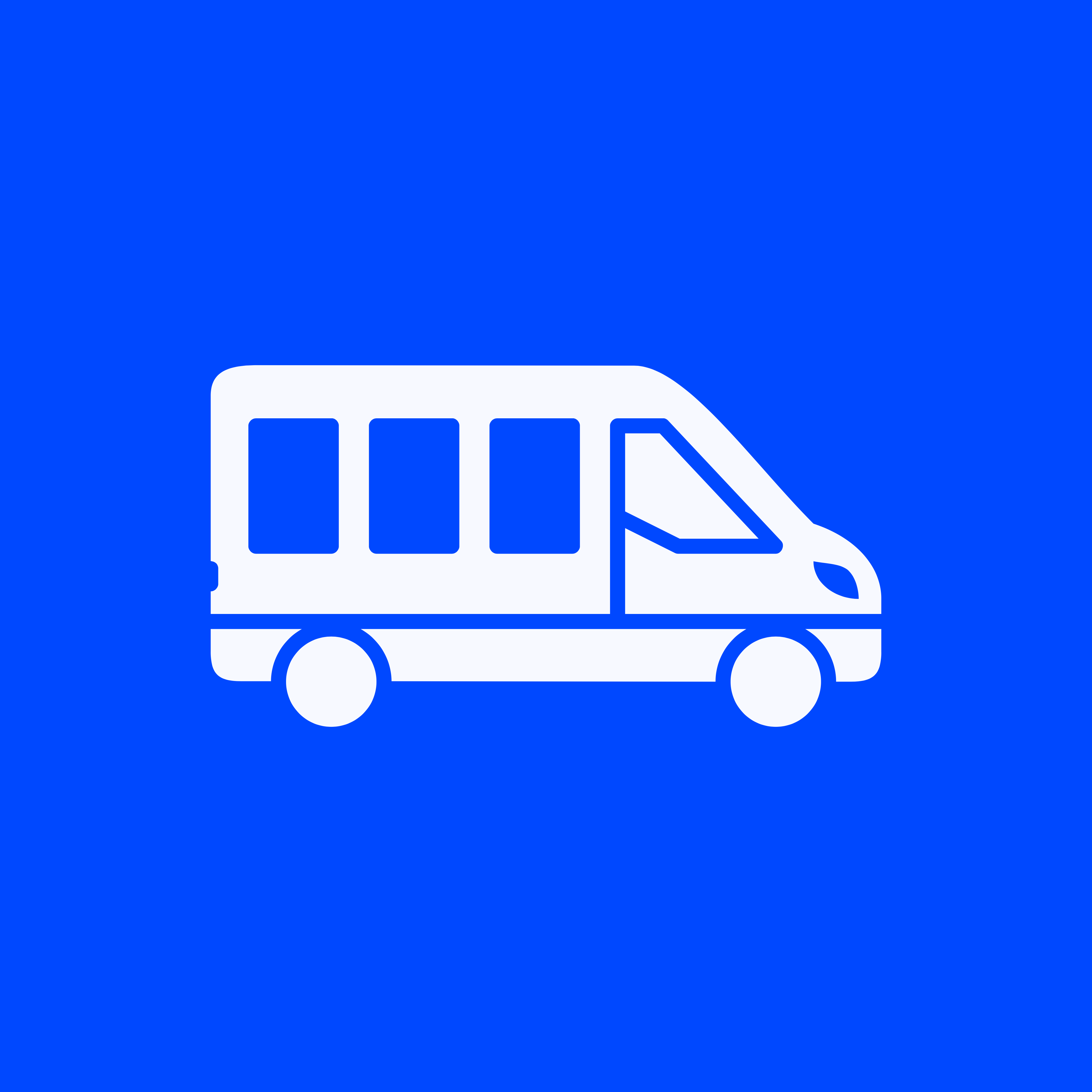 A blue and White van logo