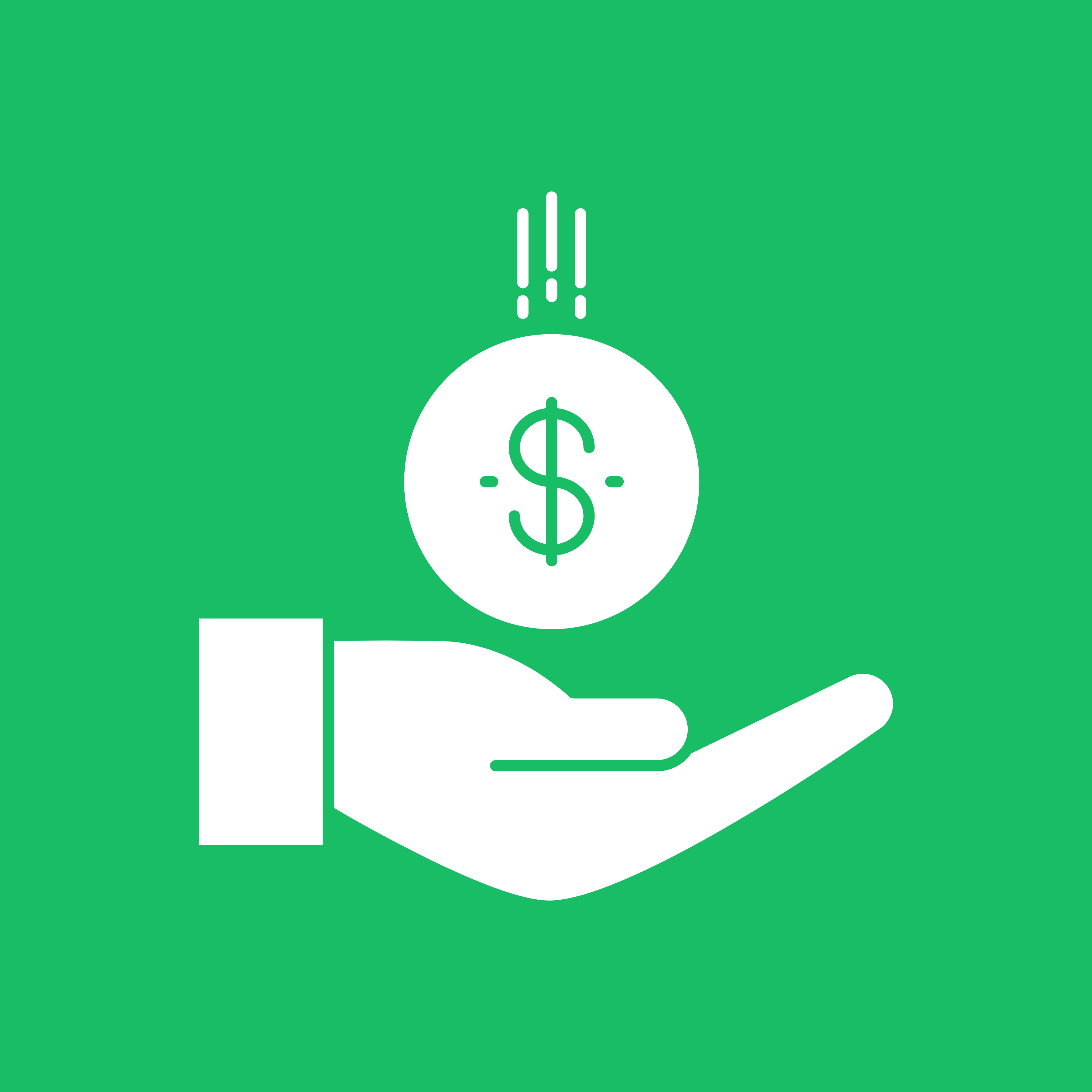 A green and white financial assistance symbol