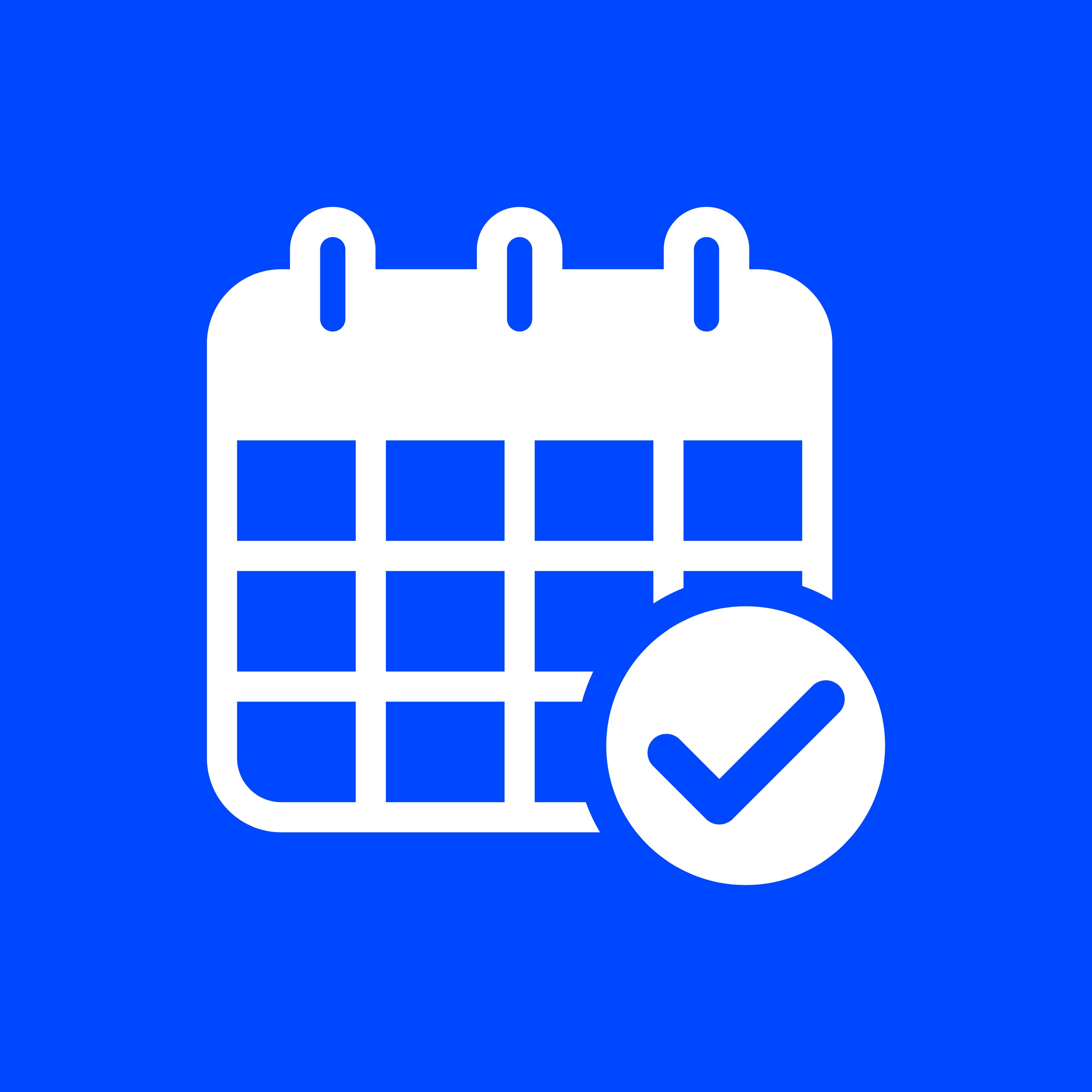 a blue and white calendar symbol