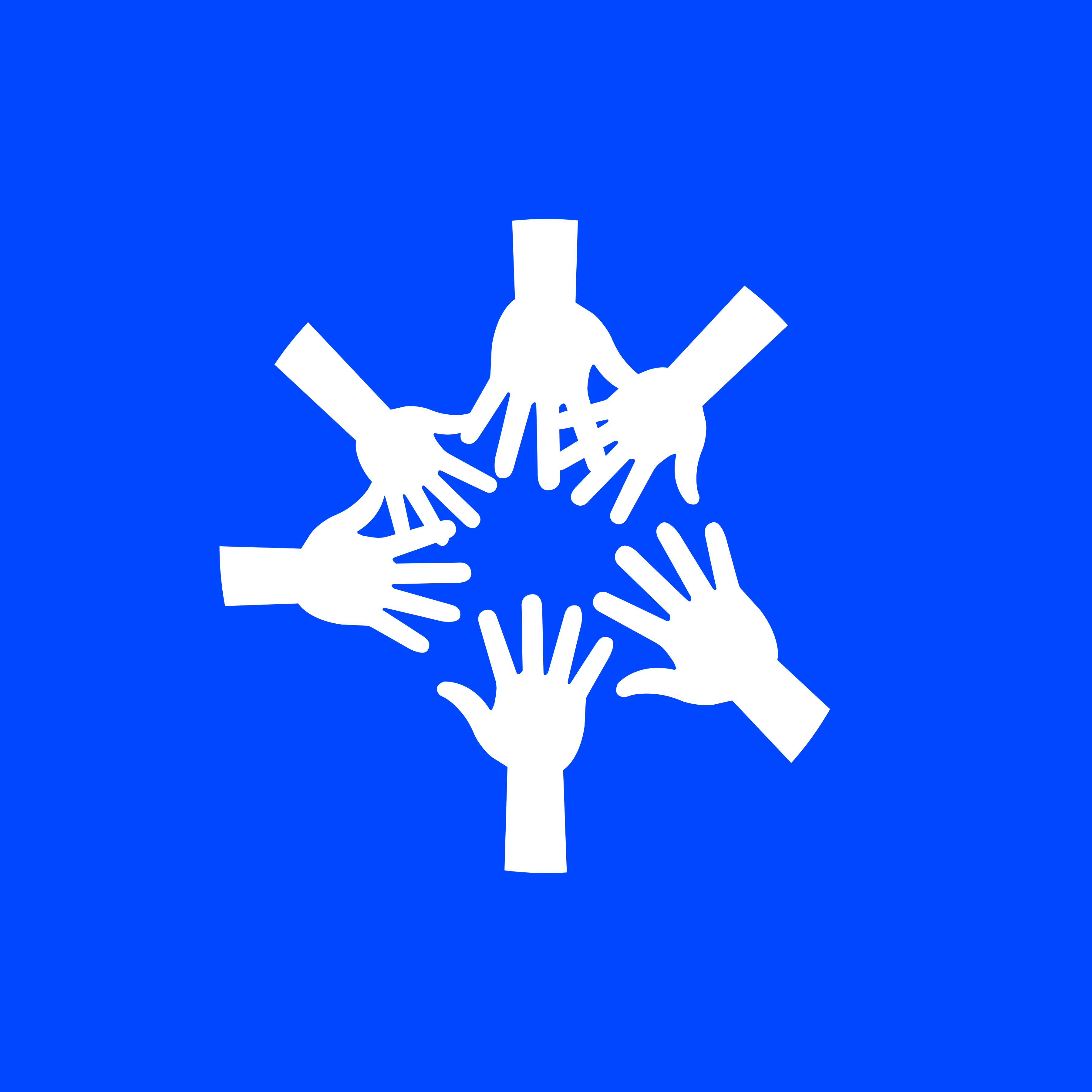 blue and white community symbol. Hands together in a circle