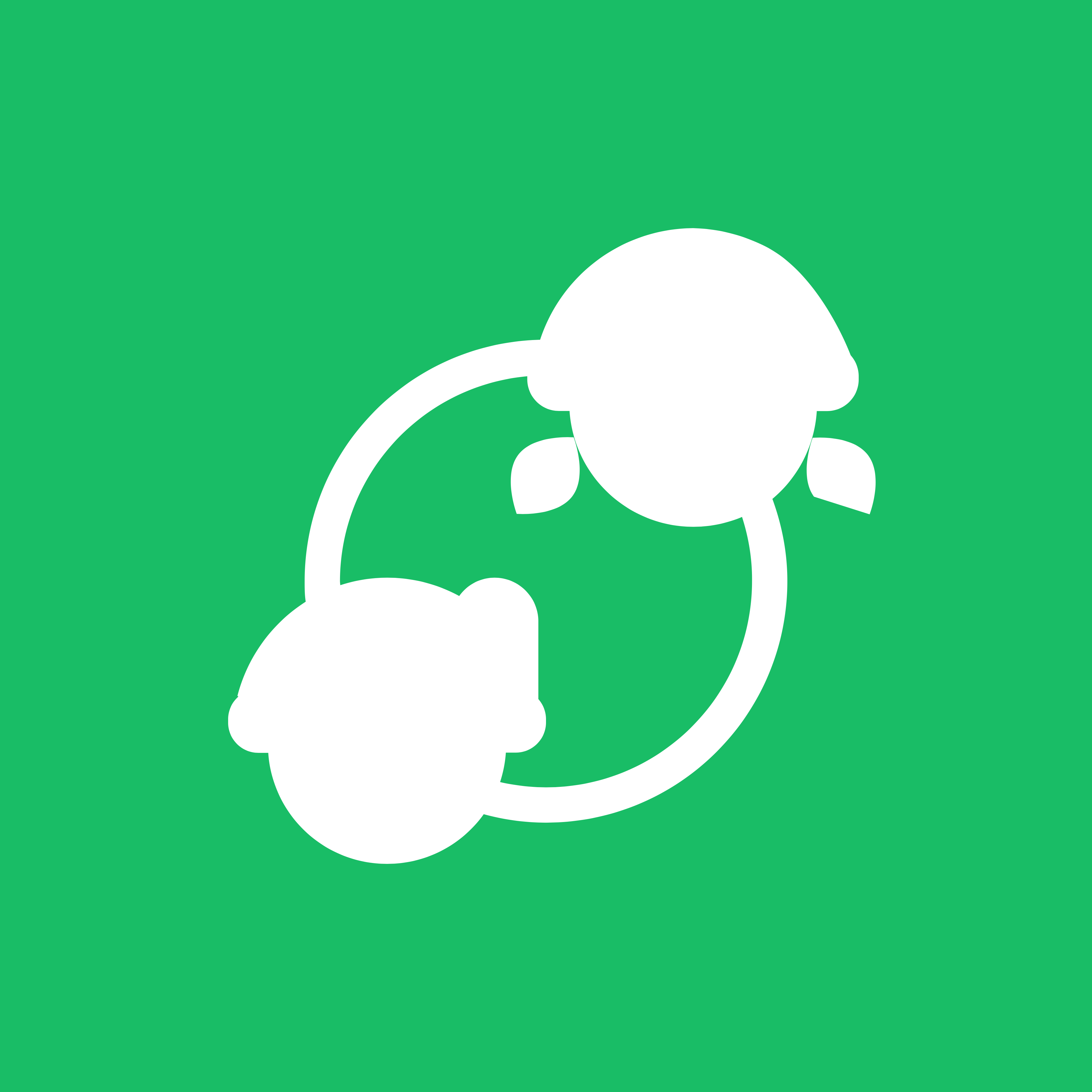 green and white symbol. a circle with a girl and a boy connected. symbolizing socialization or social circles.