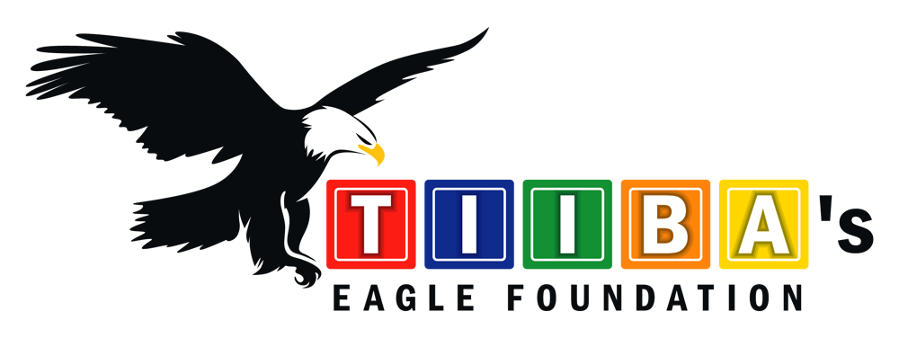 TIIBAs Eagle Foundation logo. A black and White eagle the wings spread and talons tucked under. Next to that are letter blocks that spell out TIIBA