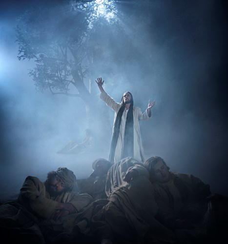 Jesus prays on the Mount of Olives